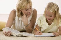 Mom and daughter studing